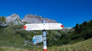 Wegmarkierung Freiburger Hütte Rot und Blau